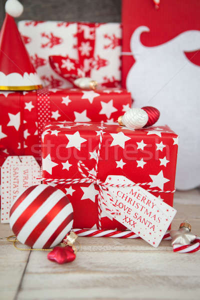 Presents in red and white wrapping paper Stock photo © BarbaraNeveu