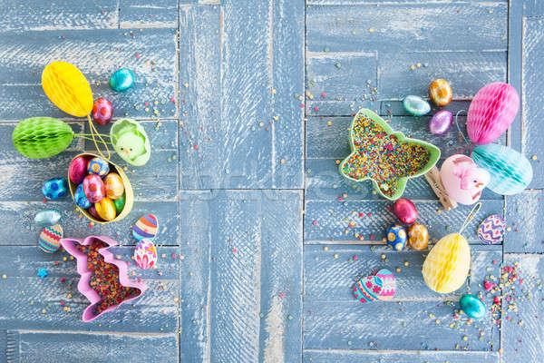 Színes csemegék húsvét kék fából készült tavasz Stock fotó © BarbaraNeveu