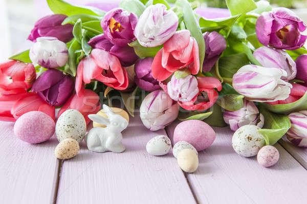 Coloré tulipes pourpre fraîches bois amour Photo stock © BarbaraNeveu