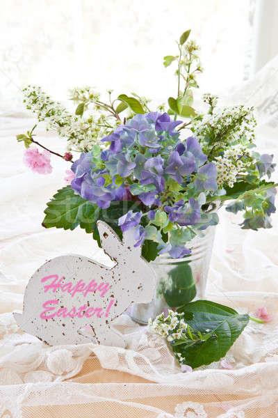 Színes virágcsokor klasszikus cink edény levelek Stock fotó © BarbaraNeveu