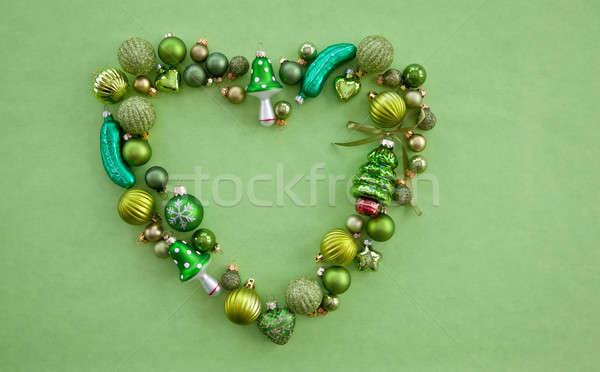 Green christmas baubles Stock photo © BarbaraNeveu
