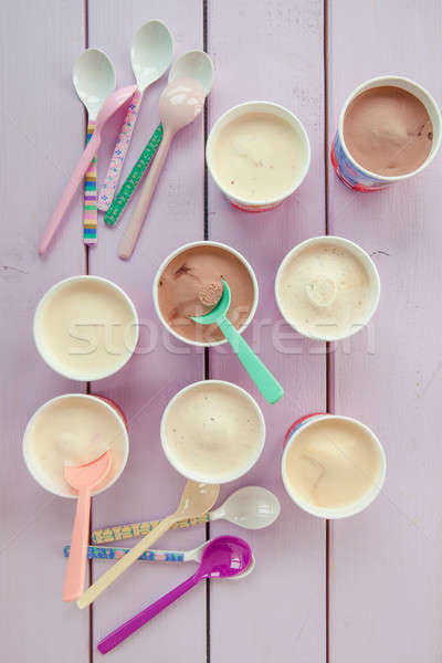Various ice creams in small paper cups Stock photo © BarbaraNeveu