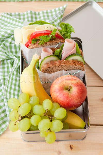 Ebéd doboz szendvicsek friss gyümölcsök alma Stock fotó © BarbaraNeveu