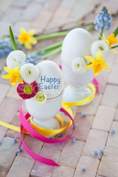 Сток-фото: яйца · весенние · цветы · белый · красочный · Пасху