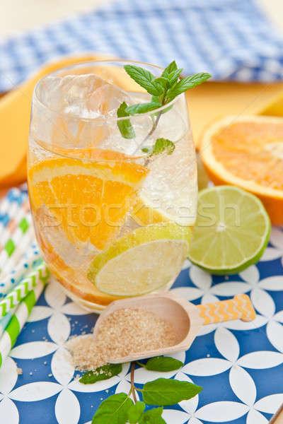 Bebida fria limões laranjas folha verão gelo Foto stock © BarbaraNeveu