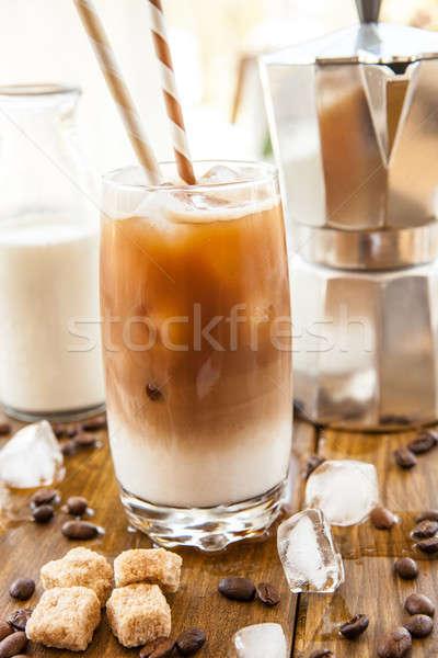 Ghiacciato caffè alto vetro latte bere Foto d'archivio © BarbaraNeveu