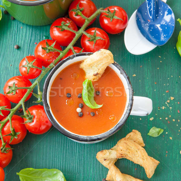 Tomato soup in rustic mug Stock photo © BarbaraNeveu