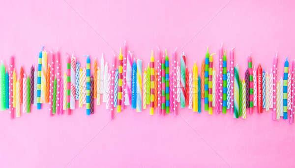 Választék születésnapi gyertyák csetepaté rózsaszín születésnap háttér Stock fotó © BarbaraNeveu