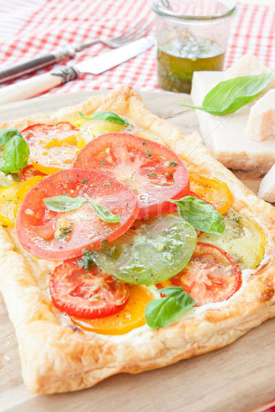 Homemade puff pastry with fresh tomatoes Stock photo © BarbaraNeveu