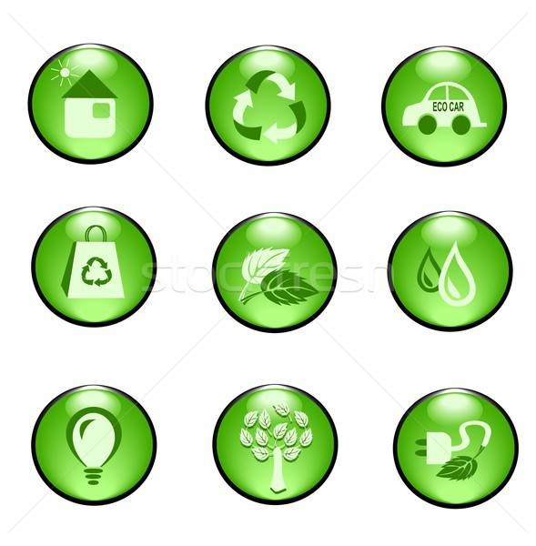 Eco buttons and icons Stock photo © BarbaRie