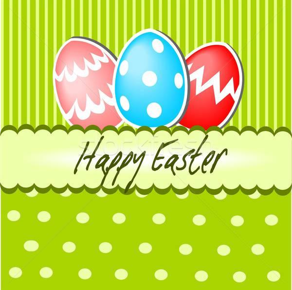 Христос воскрес иллюстрация Пасху открытки бумаги пасхальных яиц Сток-фото © BarbaRie