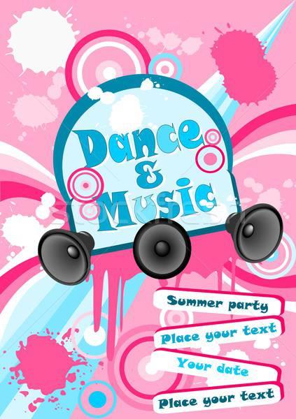 плакат иллюстрация музыку Dance пастельный цветами Сток-фото © BarbaRie