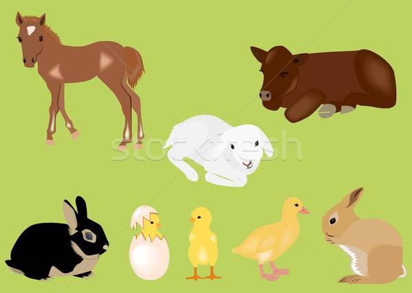 Пасху весны ребенка животные иллюстрация Сток-фото © BarbaRie