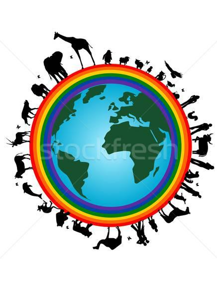 Rainbow earth Stock photo © BarbaRie