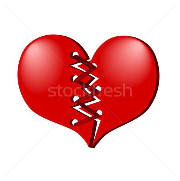 Сток-фото: красный · сердце · иллюстрация · два · шнура