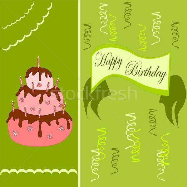 С Днем Рождения иллюстрация рождения открытки именинный торт фон Сток-фото © BarbaRie