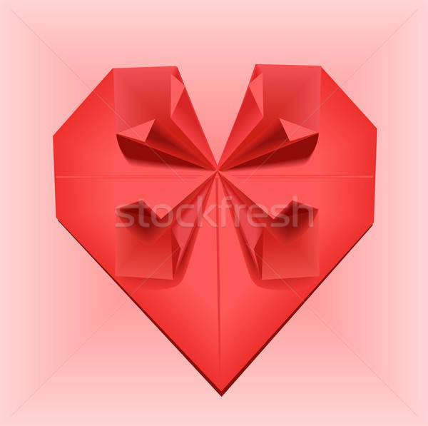 оригами сердце иллюстрация красный розовый головоломки Сток-фото © BarbaRie