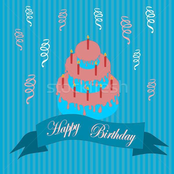 Joyeux anniversaire illustration anniversaire carte postale gâteau d'anniversaire fond Photo stock © BarbaRie