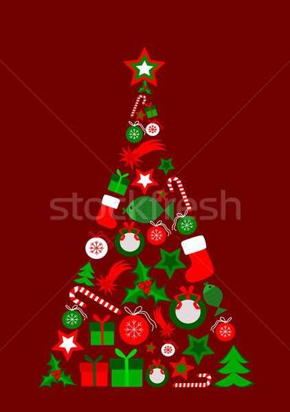 рождественская елка аннотация Рождества Элементы конфеты настоящее Сток-фото © BarbaRie