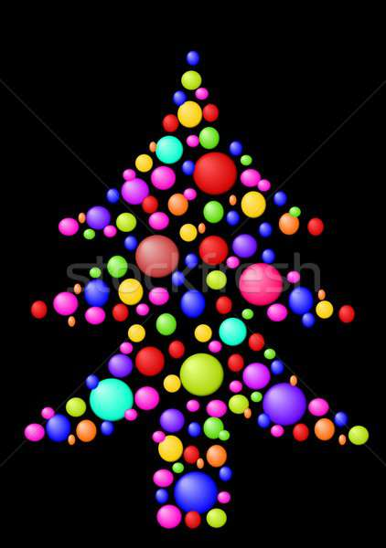 рождественская елка иллюстрация синий красный Рождества Сток-фото © BarbaRie
