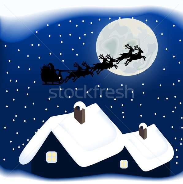 веселый Рождества Дед Мороз северный олень сани снега Сток-фото © BarbaRie