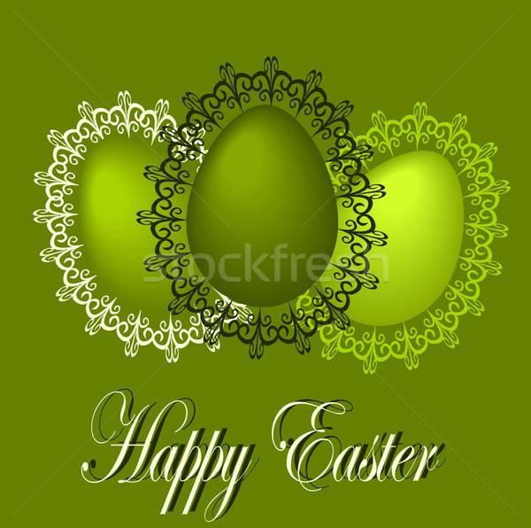 Iyi paskalyalar örnek Paskalya kartpostal paskalya yumurtası dantel Stok fotoğraf © BarbaRie