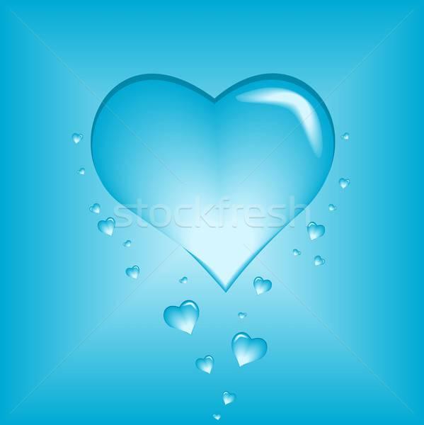 Kabarcık kalp örnek mavi Stok fotoğraf © BarbaRie