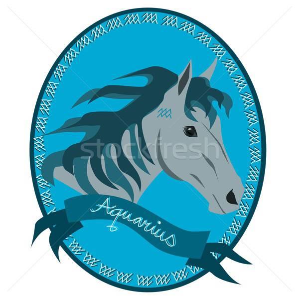 лошади зодиак иллюстрация голову признаков Сток-фото © BarbaRie