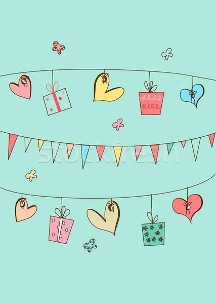 Mutlu yıllar model örnek hediyeler kalpler parti Stok fotoğraf © BarbaRie