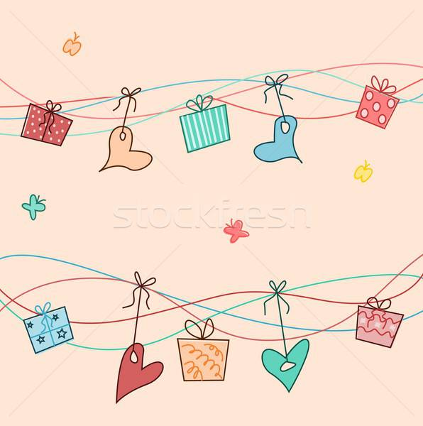 С Днем Рождения шаблон иллюстрация представляет сердцах вечеринка Сток-фото © BarbaRie