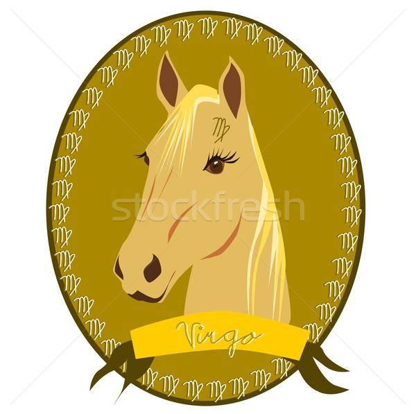Cheval zodiac illustration tête signes Photo stock © BarbaRie