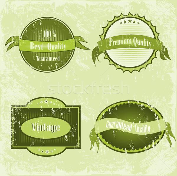 Rétro étiquettes autocollants vert vieux papier Photo stock © BarbaRie