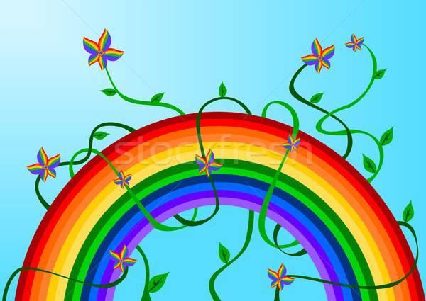 Rainbow fleurs illustration été vert Photo stock © BarbaRie