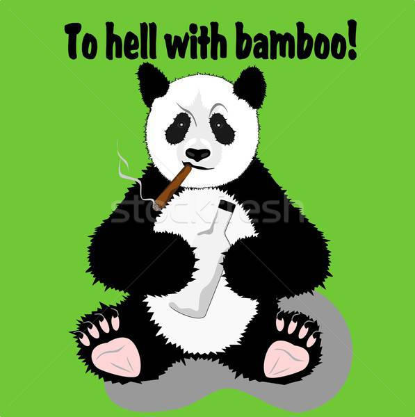 смешные Panda иллюстрация сигару бутылку черный Сток-фото © BarbaRie