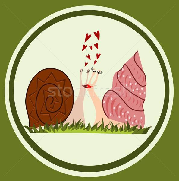 смешные любви иллюстрация зеленый сердце животного Сток-фото © BarbaRie