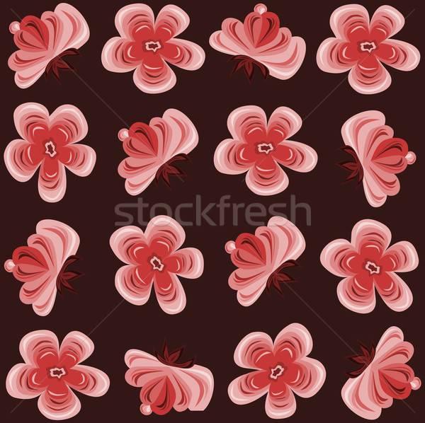 цветочный шаблон иллюстрация красный обои Сток-фото © BarbaRie