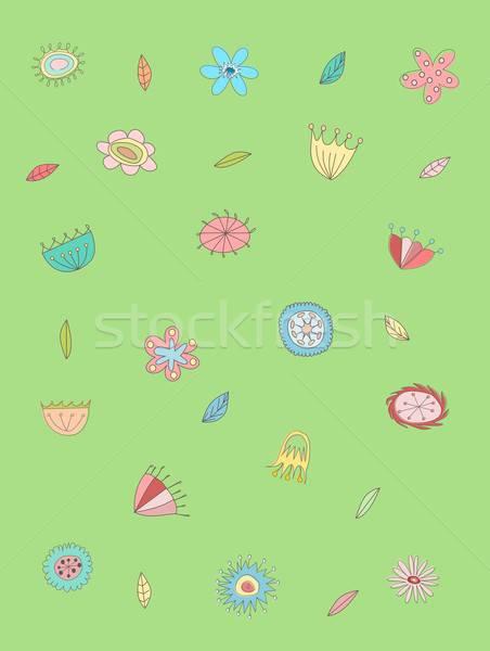цветочный шаблон иллюстрация цветы листьев цветок Сток-фото © BarbaRie