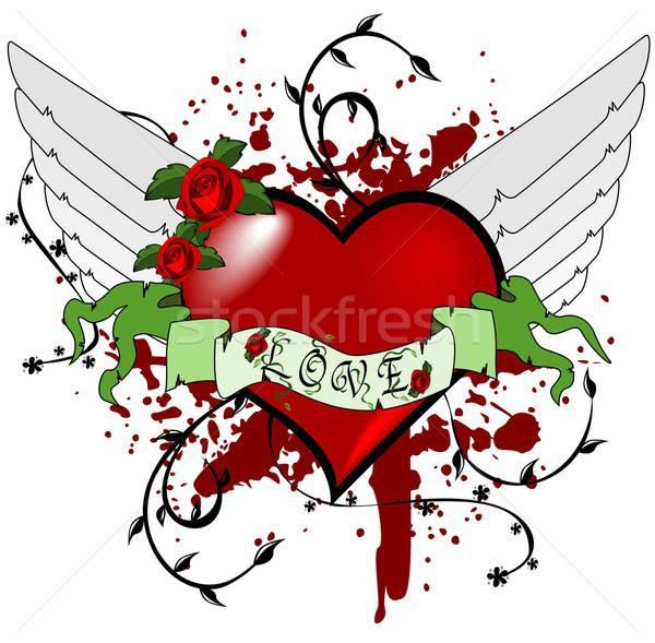 сердце иллюстрация знак любви крыльями аннотация Сток-фото © BarbaRie