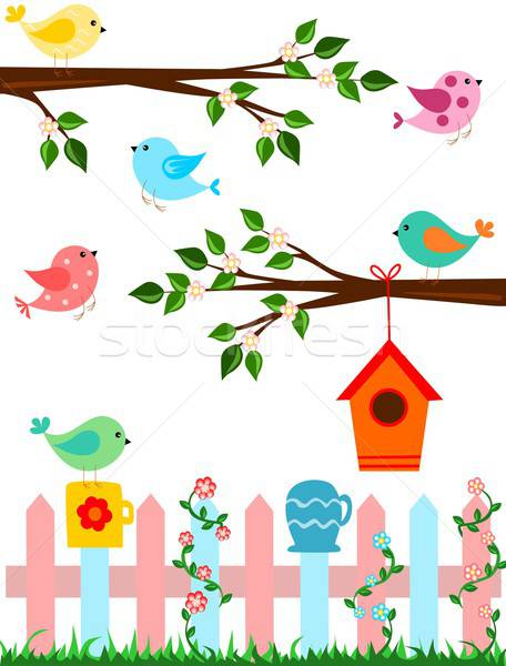 Сток-фото: Cartoon · птиц · иллюстрация · забор · птица · дома