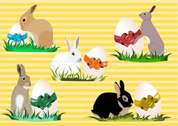 Paskalya örnek farklı paskalya yumurtası çim Stok fotoğraf © BarbaRie