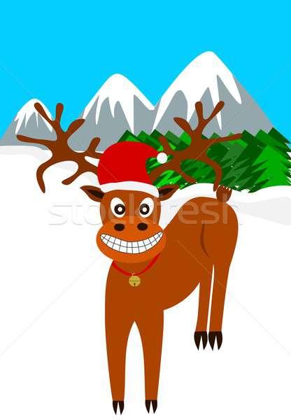 северный олень иллюстрация смеясь Hat Сток-фото © BarbaRie