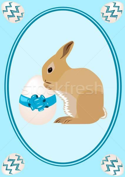 Христос воскрес иллюстрация Пасхальный заяц пасхальное яйцо цветы кролик Сток-фото © BarbaRie