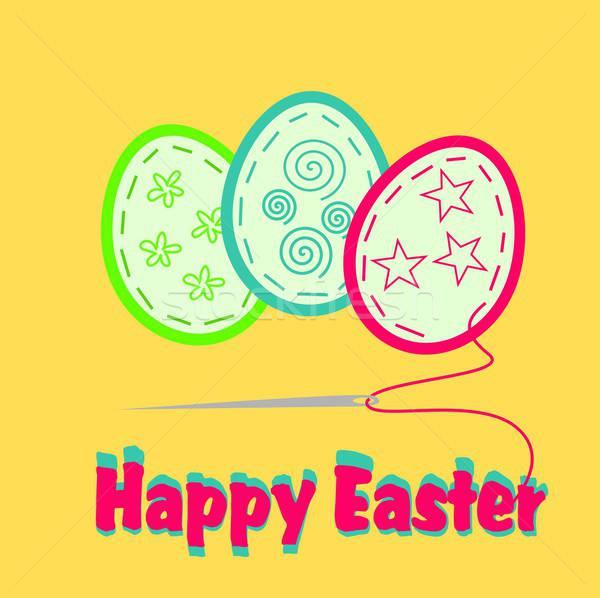 Христос воскрес иллюстрация Пасху открытки пасхальных яиц весны Сток-фото © BarbaRie