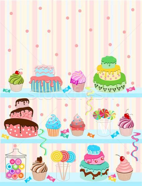 кондитерские изделия иллюстрация различный конфеты торты синий Сток-фото © BarbaRie