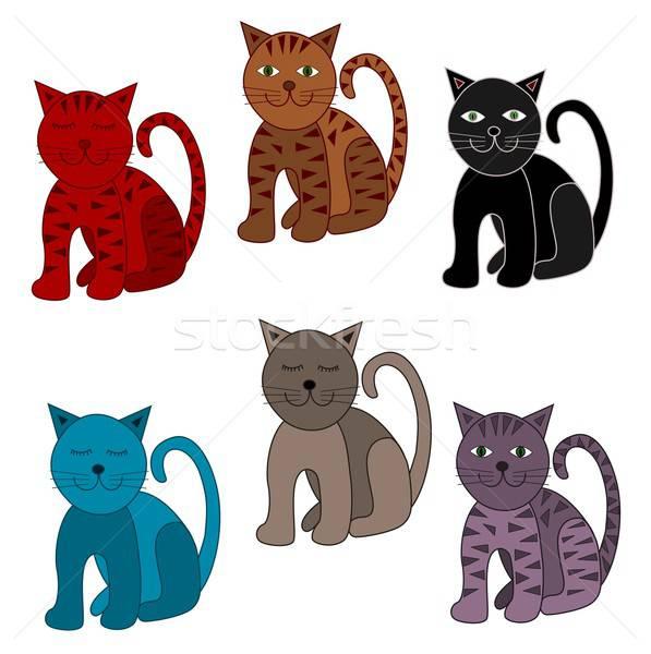 Сток-фото: Cute · кошек · иллюстрация · красочный · синий · фермы