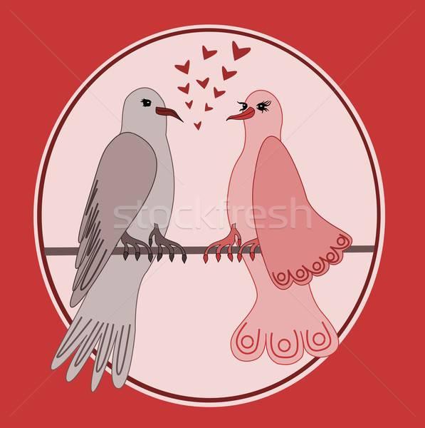 иллюстрация любви сердце птица красный розовый Сток-фото © BarbaRie
