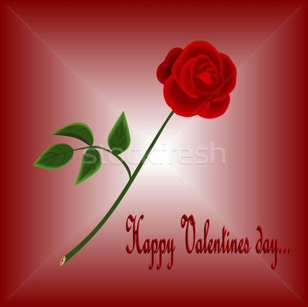 Сток-фото: счастливым · Валентин · иллюстрация · красивой · красную · розу · красный