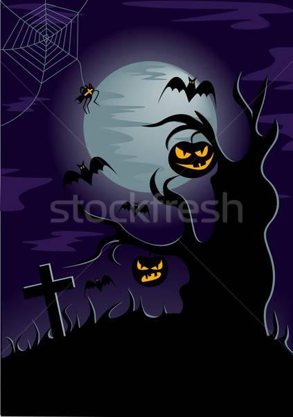 Halloween örnek örümcek ay ağaç Stok fotoğraf © BarbaRie