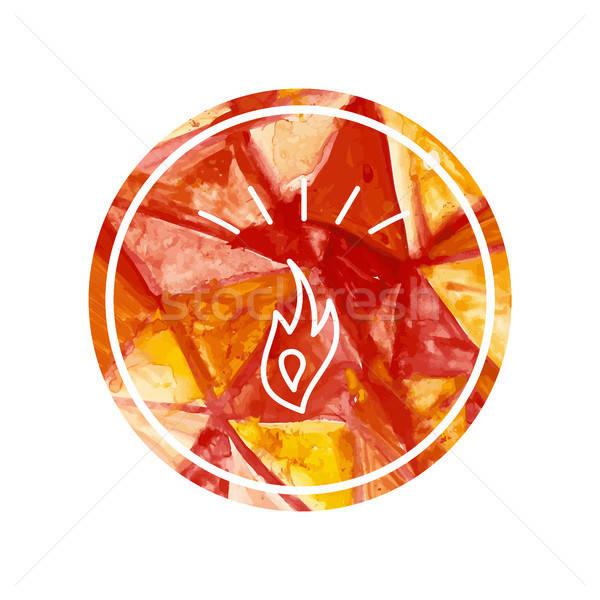 Vízfesték logo tűz máglya vektor üzlet Stock fotó © barsrsind
