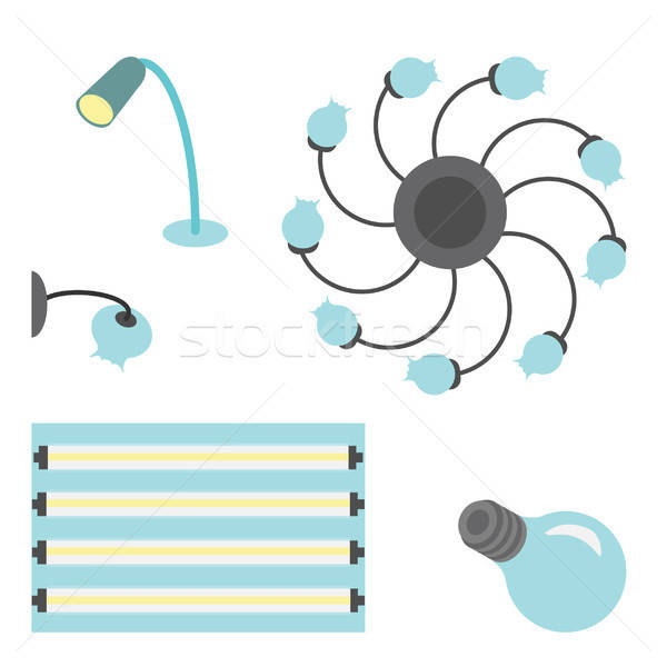 Vector set of different lamps Stock photo © barsrsind